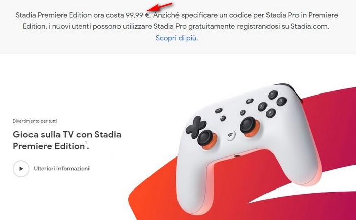 google stadia premiere edition offerta sconto